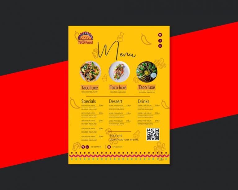 Menu Design for a Tacos Resturant.